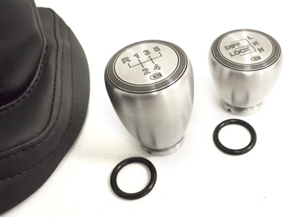 Land Rover Defender, Parts, Accessories, EXT014-5, EXT014-6, Gaiter Kit, Gear Shift Kit, Leather, Stitch, Gear Knob, Shift Knob, Hand Brake Knob, Slobs, Gear Slob, Aluminium, quality